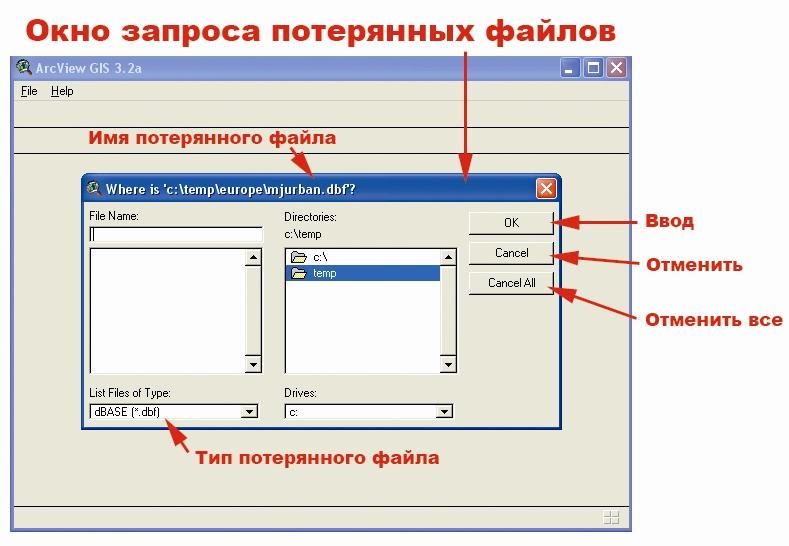 Рис. 5. Окно запроса потерянных файлов проекта ArView