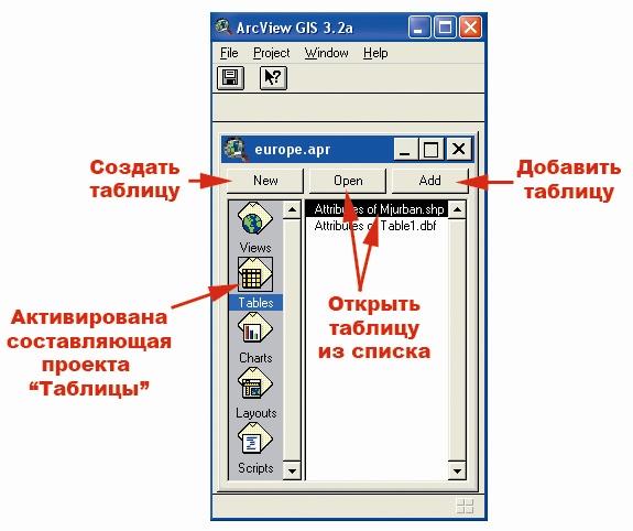 Рис. 21. Окно проекта ArcView в режиме «Tables – Таблицы»