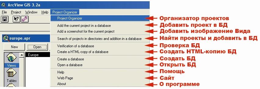 Рис. 68. Меню категории команд «Project Organizer – Организатор проектов»