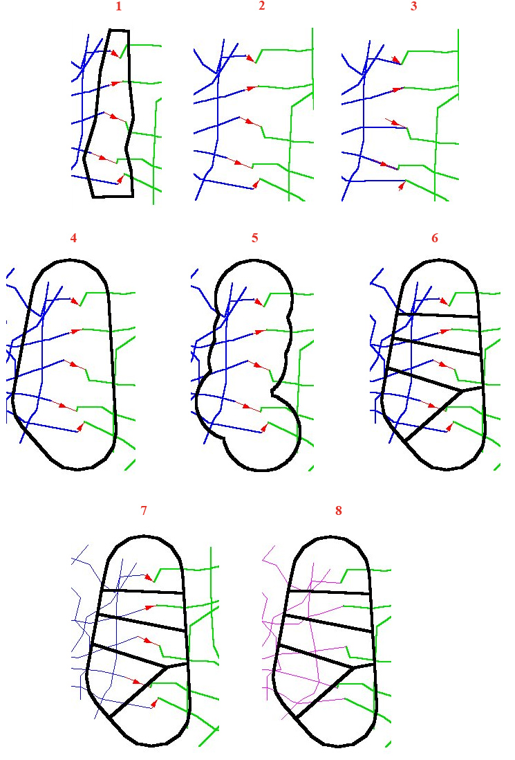 Рис. 102. Примеры выравнивания краев разными методами. Построение полигона, включающего края редактируемой и замыкаемой тем инструментом «Generate Links – Генерировать связи» –1. Темы до (2) и после (3) выравнивания краев методом замыкания (Snap). Построение полигона, включающего края редактируемой и замыкаемой тем, разными методами подтягивания: буфер ковексного полигона – 4 и простой буфер точек начала связей – 5. Области подтягивания для каждой связи – 6. Темы до (7) и после (8) выравнивания краев методом подтягивания (Adjust)