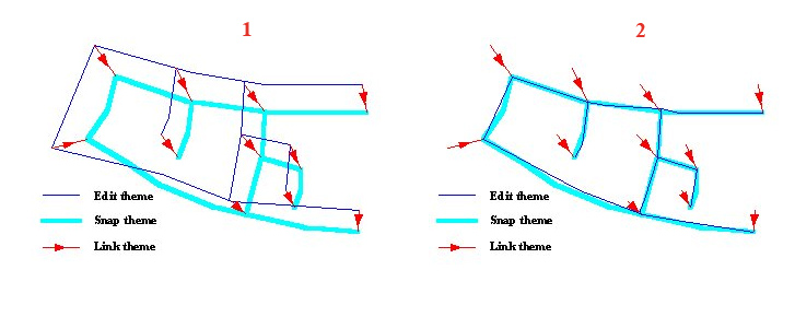 Рис. 104. Пример реализации функции «Adjust – Подятнуть»: рабочие темы до натягивания (1) и после натягивания (2)