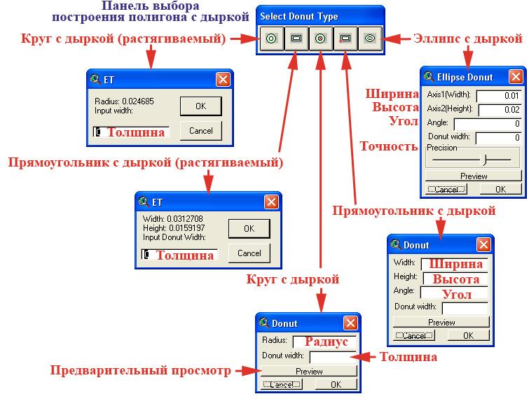 Рис. 114. Панель инструментов «Select Donut Type – Выбрать тип полигона с дыркой» с дополнительными окнами настройки объектов