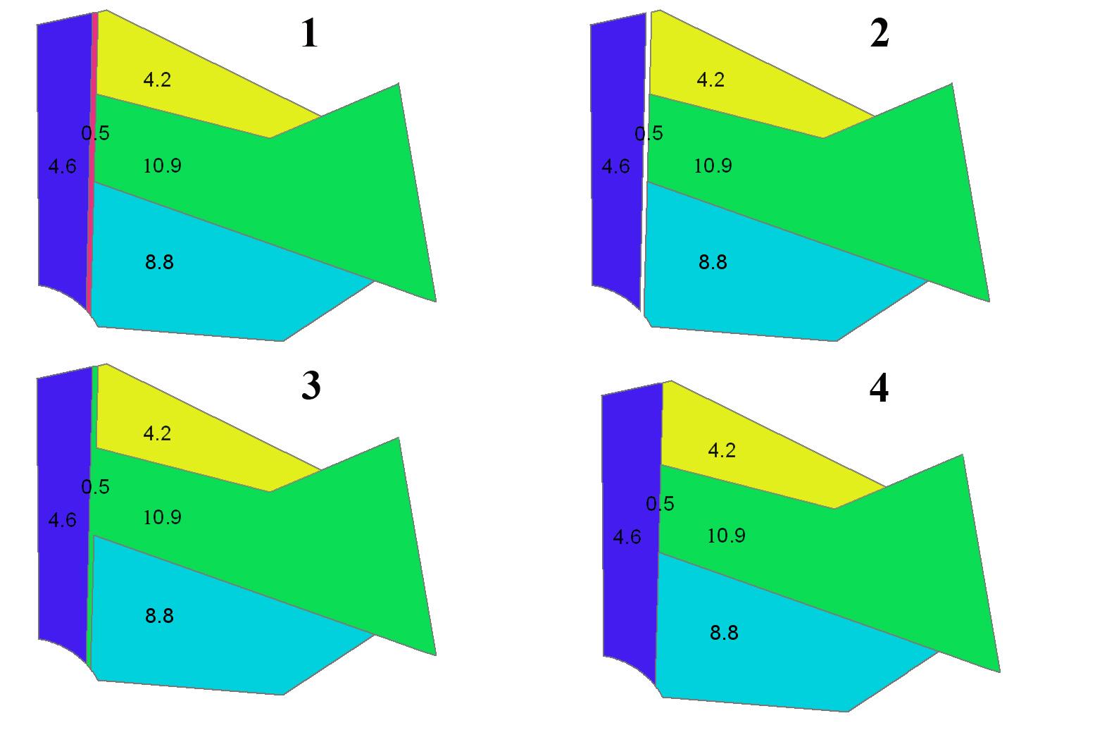 Рис. 121. Пример результата разных методов элиминации: 1 – полигональная тема до начала элиминации, для элиминации выбран узкий полигон, площадью 0,5 км2, 2 – элиминация методом удаления объектов (Delete), 3 – элиминация методом объединения по площади (Join (area)), 4 – элиминация методом объединения по границе (Join (border))