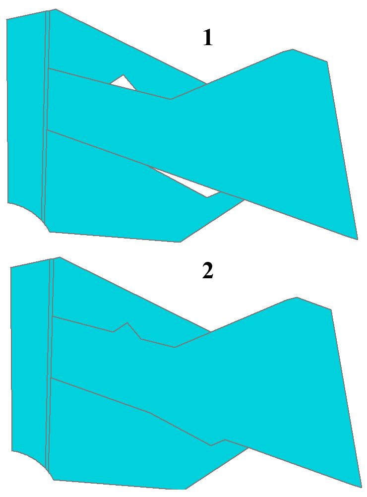 Рис. 123. Пример результата работы опции «Clean Gaps – Удалить промежутки»: 1 – два промежутка до начала обработки, 2 – промежутки объединены с большим по площади соседним полигоном в результате операции очистки промежутков