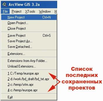Рис. 142. Вид меню категории команд «File - Файл» в режиме открытого окна проекта при работающем расширении  «Rembers Saved Projects – Список сохраненных проектов»