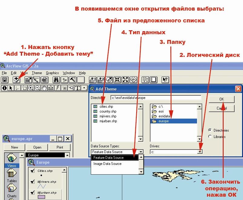 Рис. 157. Последовательность операций по добавлению темы в карту посредством горячей кнопки «Add Theme – Добавить тему»
