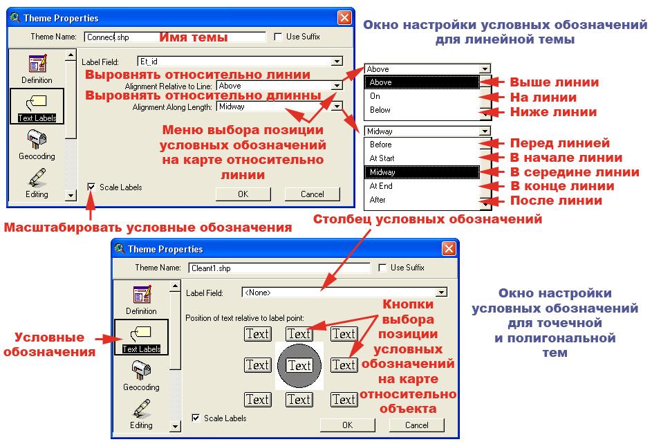 Рис. 159. Менеджер свойств темы в режиме функции «Text Labels – Условные обозначения»
