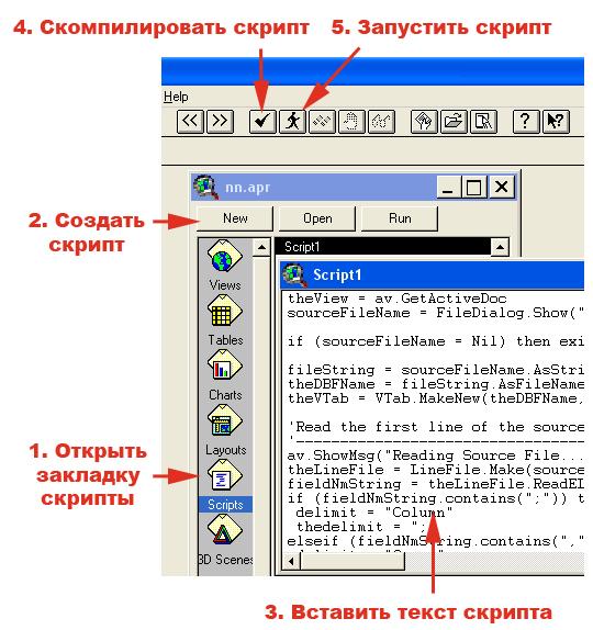 Рис. 193. Последовательность действий по добавлению скрипта для импорта csv-файлов