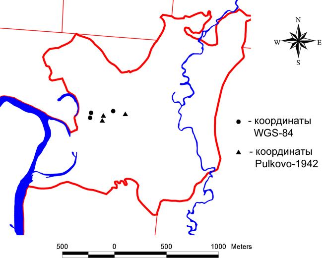 Рис. 224. Разница координат при использовании систем координат WGS-84 и Pulkovo-1942
