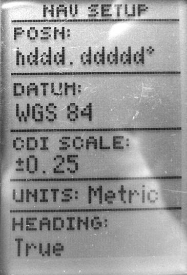 Рис. 226. Вид экрана навигатора «GARMIN 12» на странице «Navigation setup» (навигационная установка)