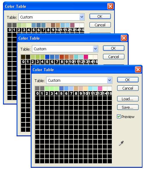 Рис. 240. Цветовая таблица для топографической карты. Распределение цветовых оттенков по группам в разных вариантах отсканированных топографических карт