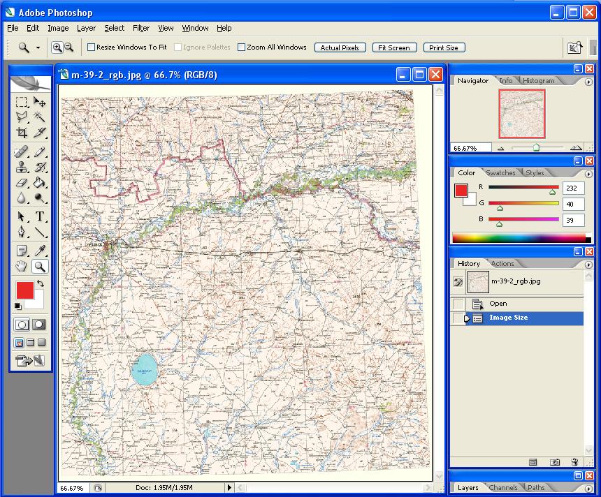 Рис. 241. Отсканированная карта, предварительно обработанная для начала операции по цветоделению
