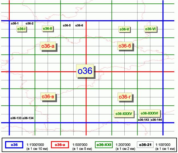 Рис. 244. Номенклатура листов топографических карт масштабов 1:1'000'000, 1:500'000, 1:200'000, 1:100'000