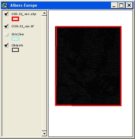 Рис. 256. Индексированная карта, подгруженная в ArcView как Image Data Source с ненастроенной легендой