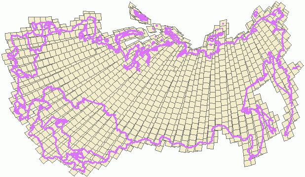 Рис. 266. Фрагмент каталога данных Landsat ETM+ на территорию России