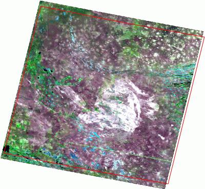 Рис. 267. Снимок Landsat и соответствующий ему полигональный объект из шейп-файла каталога изображений
