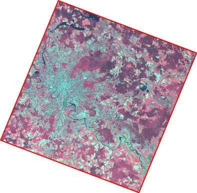 Рис. 268. Снимок Aster и соответствующий ему полигональный объект из шейп-файла каталога изображений