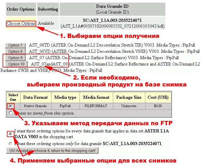 Рис. 273. Оформление заказа снимков в системы поиска WIST