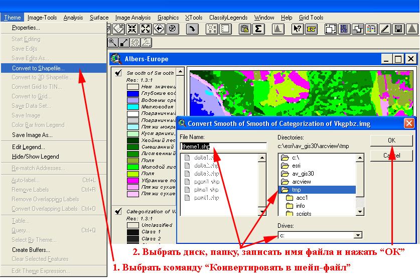 Рис. 309. Классификация: шаг 4 – конвертирование классифицированного изображения в шейп-файл