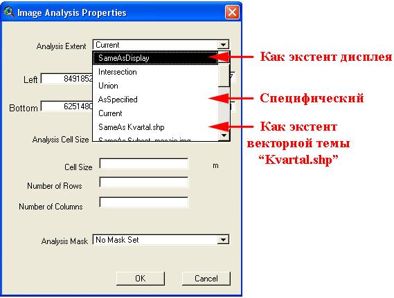 Рис. 342. Выбор ограничивающего экстента в настройках свойств анализа для Image Analyst