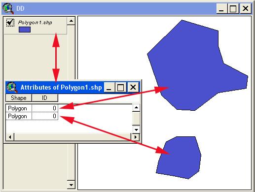Рис. 353. Атрибутивная таблица только что созданного шейп-файла с 2-мя нарисованными объектами