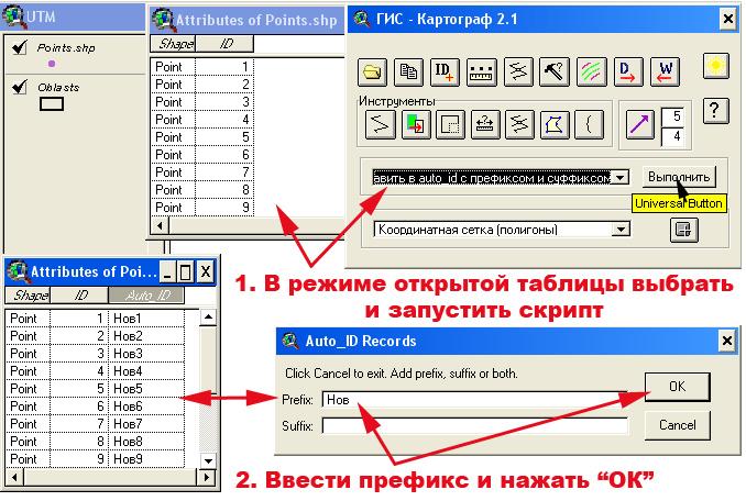 Рис. 357. Алгоритм добавления идентификационного номера с с префиксом или суффиксом с помощью скрипта, интегрированного в расширение ГИС-Картограф 2.1