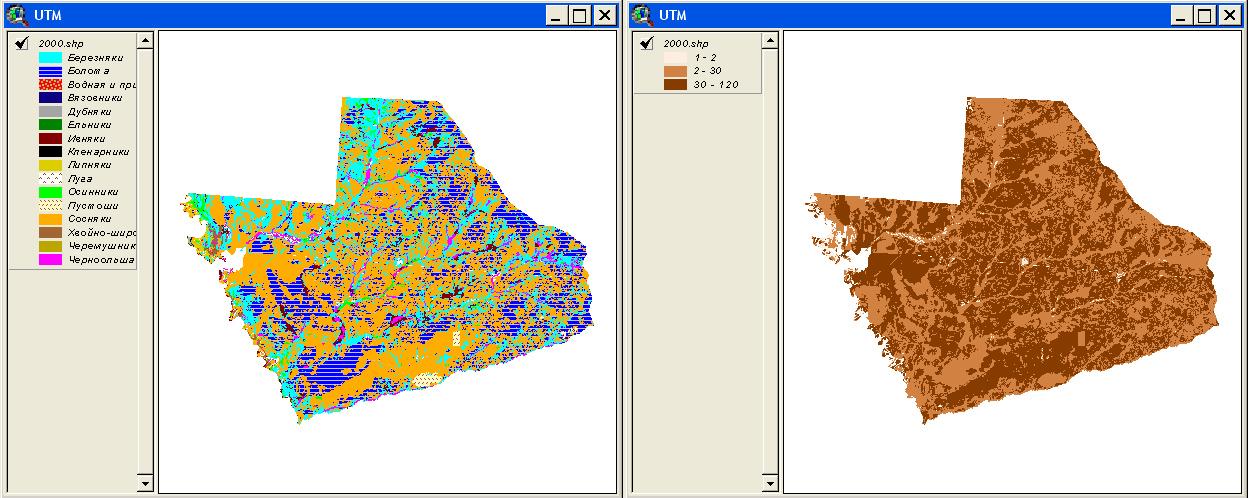 Рис. 367. Пример классификации легенды геоботанической карты по формациям (слева) и по численности лосей в данных формациях (справа)