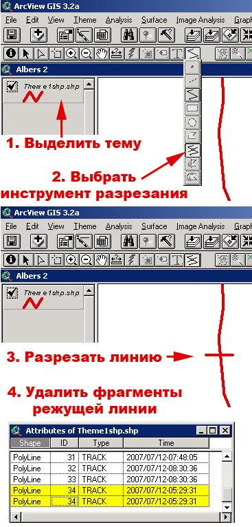 Рис. 371. Разрезание линии стандартным инструментом ArcView