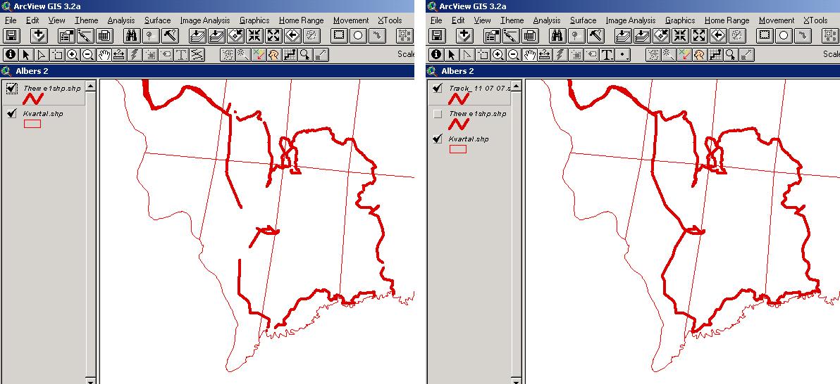 Рис. 372. Линейная тема трека, состоящая из нескольких фрагментов (слева) и с дорисованными недостающими фрагментами (справа)