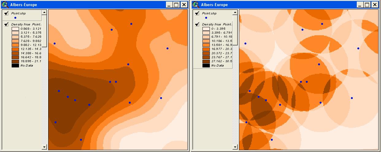 Рис. 404. Карты плотности, построенные с помощью Spatial Analyst методами Kernel – слева и Simple – справа