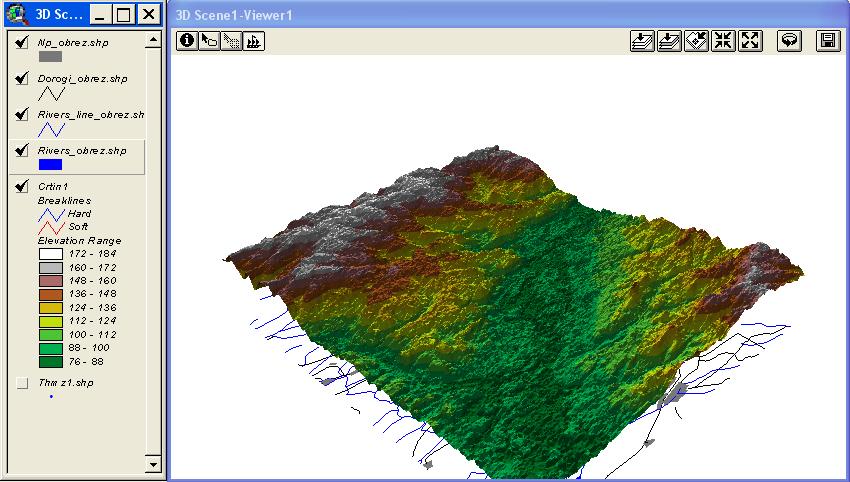 Рис. 410. Отображение 2D-векторных тем и TIN в трехмерной сцене до настройки вертикального масштаба 2D-векторных тем