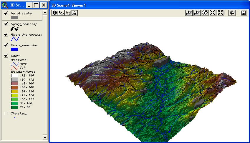 Рис. 412. Трехмерная модель местности с настройками высотного масштаба векторных тем