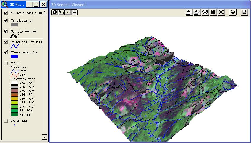 Рис. 413. Космоснимок Landsat-ETM+ трансформированный по TIN