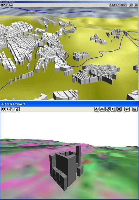 Рис. 415. Результат равномерного поднятия объектов (вверху) и по значению их атрибутивной таблицы (внизу) в 3D-Analyst