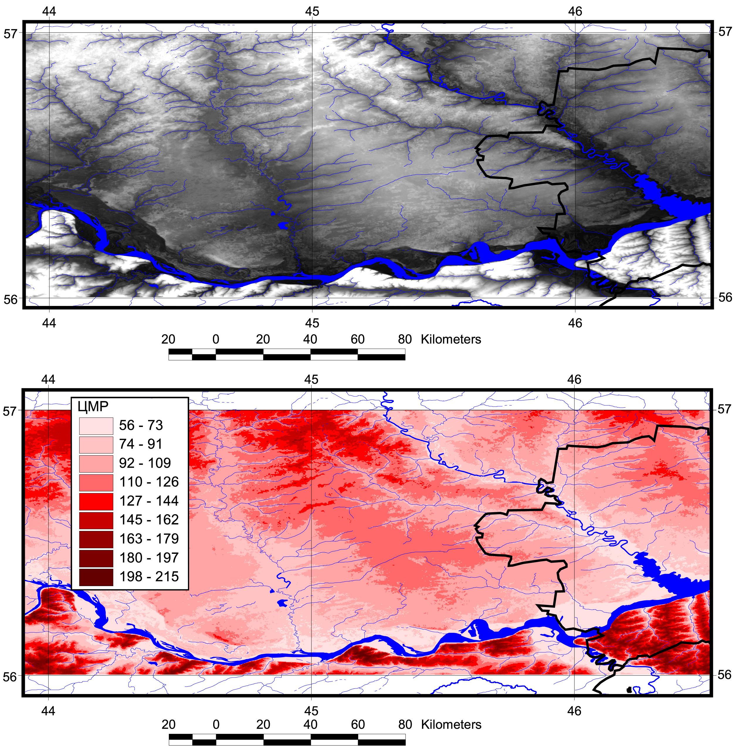 Рис. 420. Радарная топографическая съемка в формате бинарного растра (вверху) и в формате GRID (внизу)