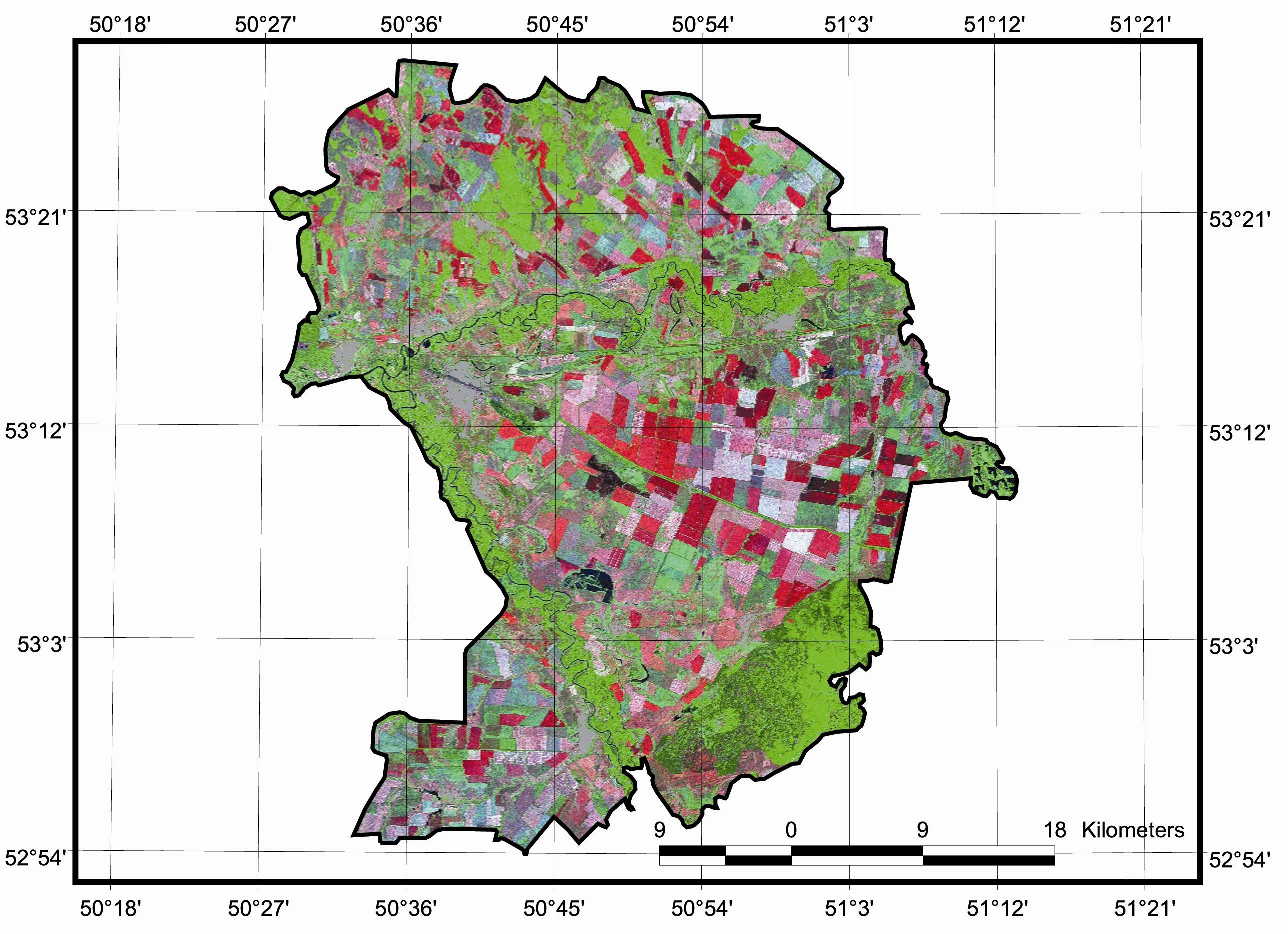 Рис. 426. Кинельский р-н Самарской области на космоснимке Landsat ETM+