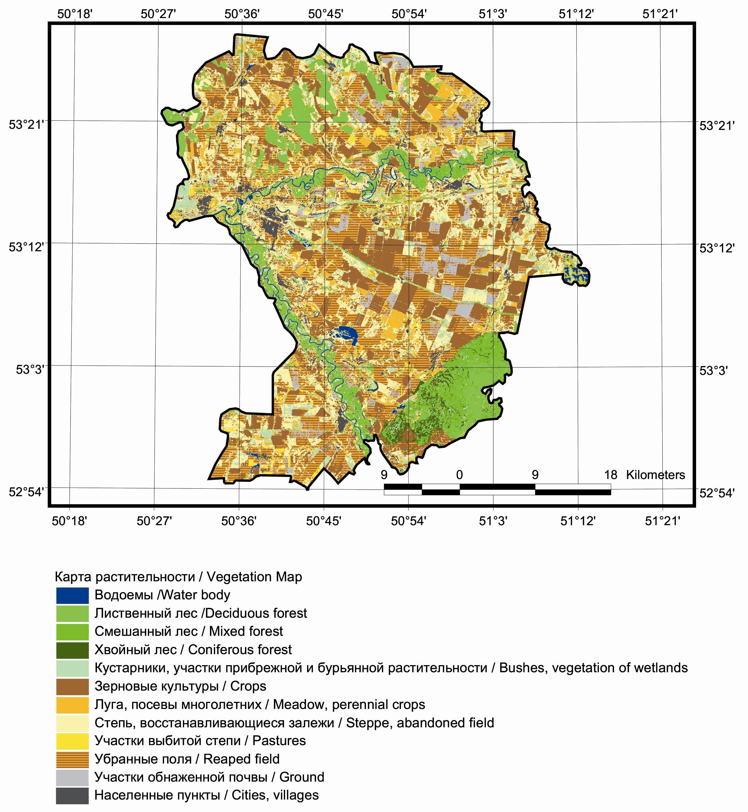 Рис. 427. Карта растительности Кинельского р-на Самарской области