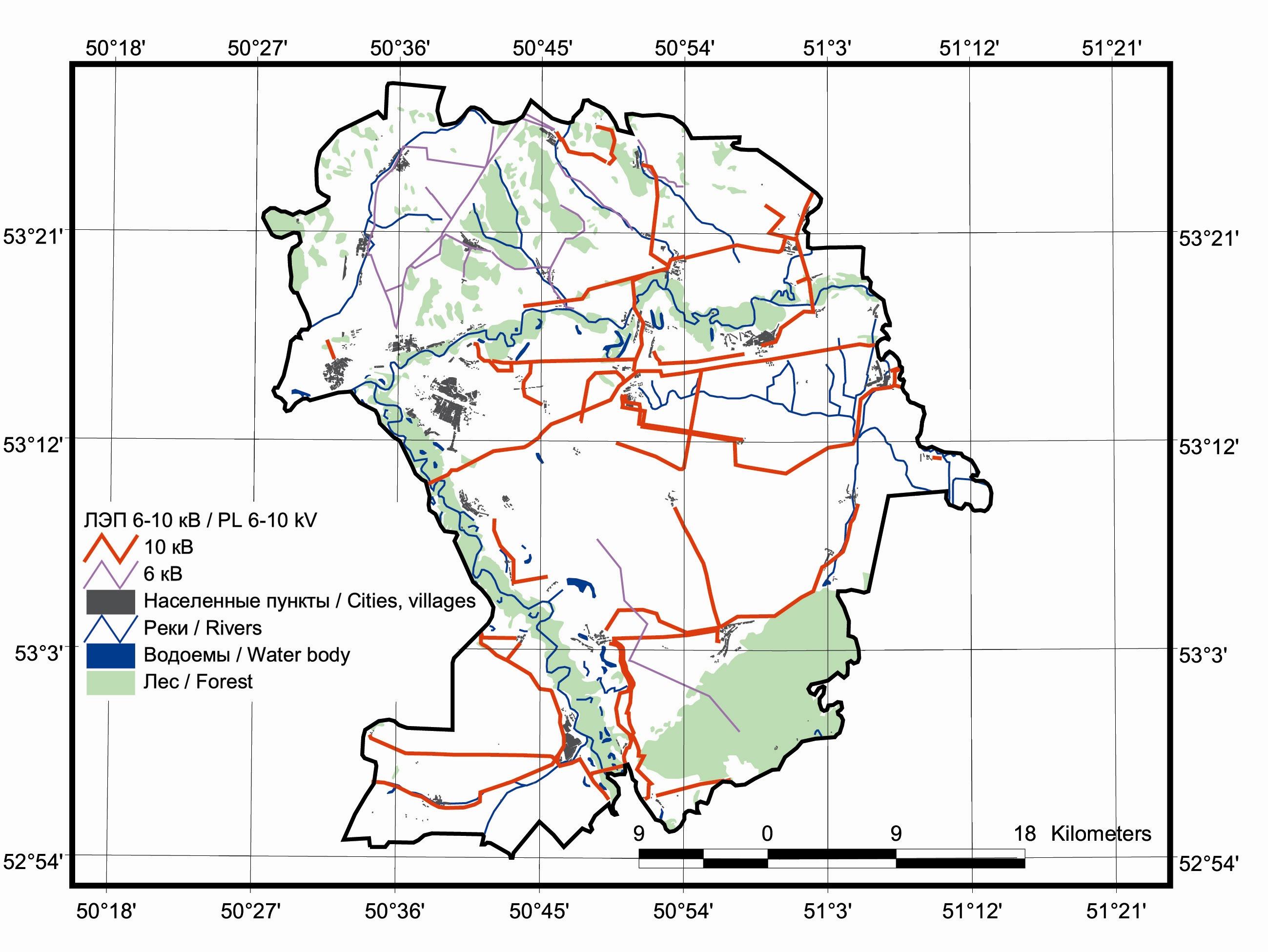 Рис. 429. Карта птицеопасных ЛЭП, мощностью 6-10 кВ на территории Кинельского р-на Самарской области