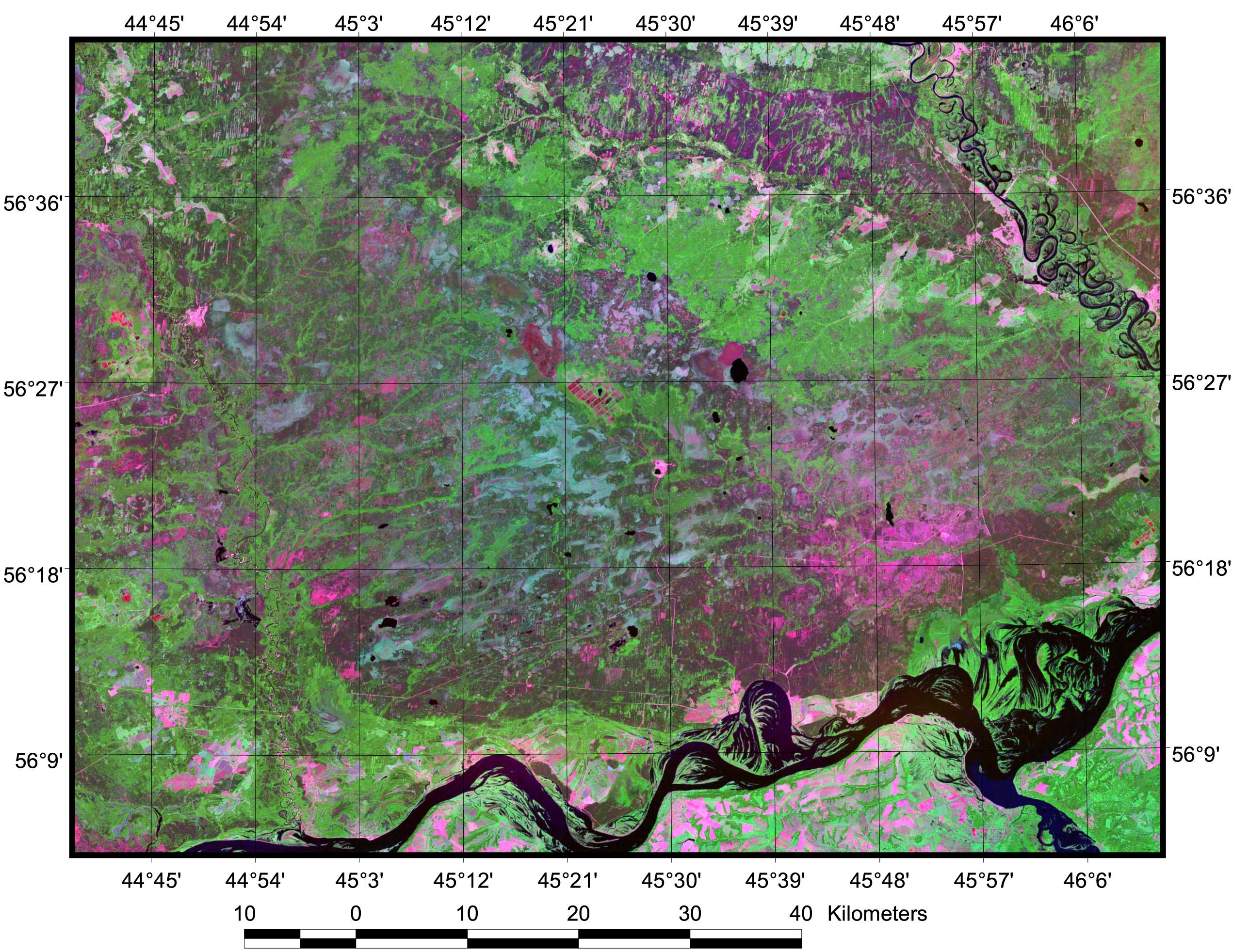 Рис. 433. Камско-Бакалдинские болота на мозаике космоснимков Landsat ETM+ 2000 г