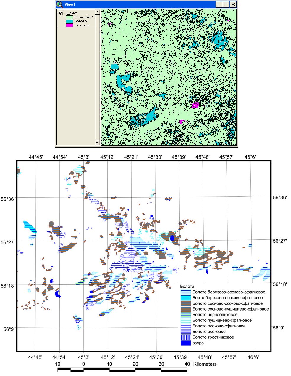 Рис. 434. Фрагмент темы болот и пустошей в ArcView (вверху) и генерализованная карта болот, ранжированная по типам болот (внизу)