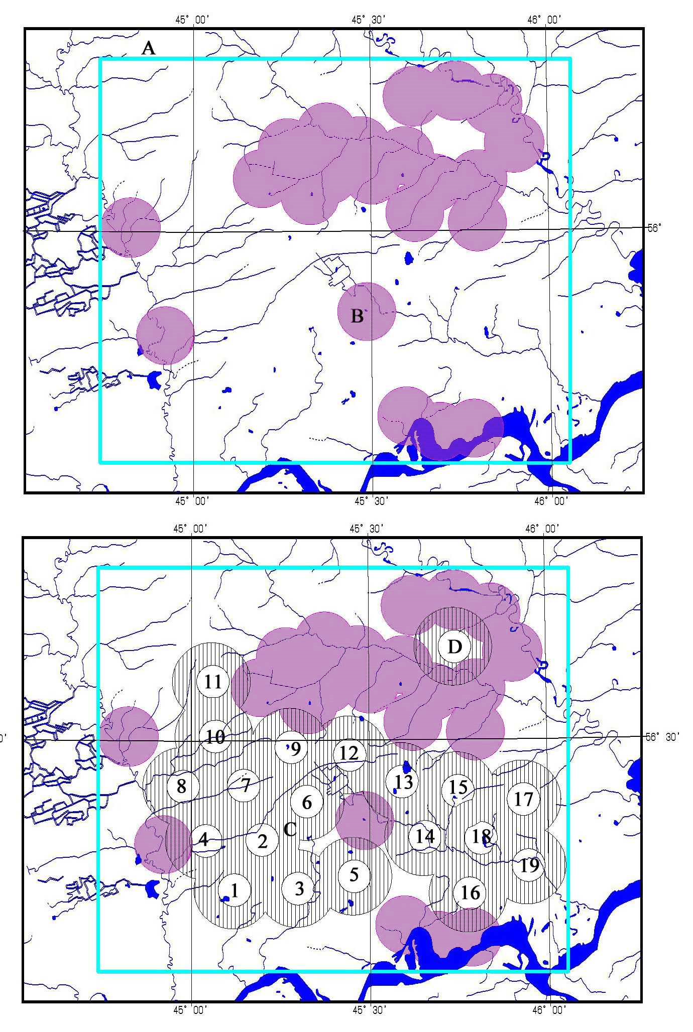 Рис. 435. Карта буферных территорий населенных пунктов (вверху) и предполагаемых гнездовых участков беркута (внизу)