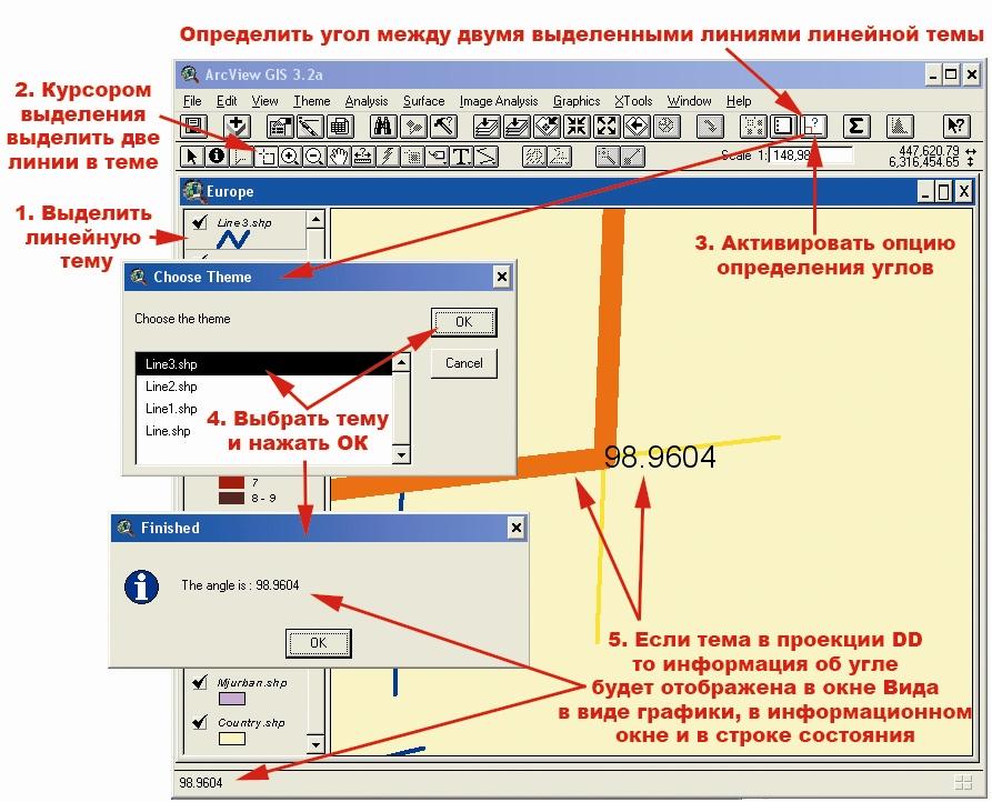 Рис. 458.  Расширение «Расчет углов пересекающихся линий» и последовательность операций по его использованию