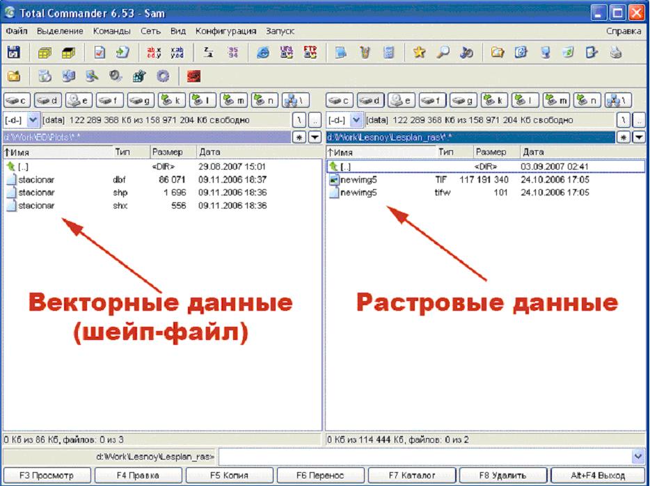 Рис. 10. Отображение векторных данных и зарегистрированных растровых изображений в файловом менеджере