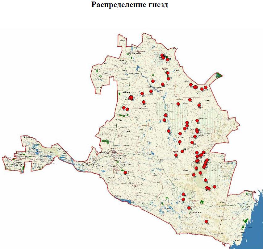 Карта-схема распредления гнёзд степного орла в Калмыкии