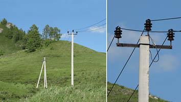 Безопасная ЛЭП, оснащенная СИП3 на р. Ануй, республика Алтай.