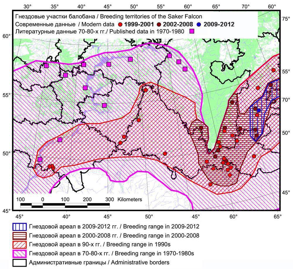 Негативная динамика гнездового ареала балобана в Европейской части России и Западном Казахстане на рубеже ХХ и ХХI столетий