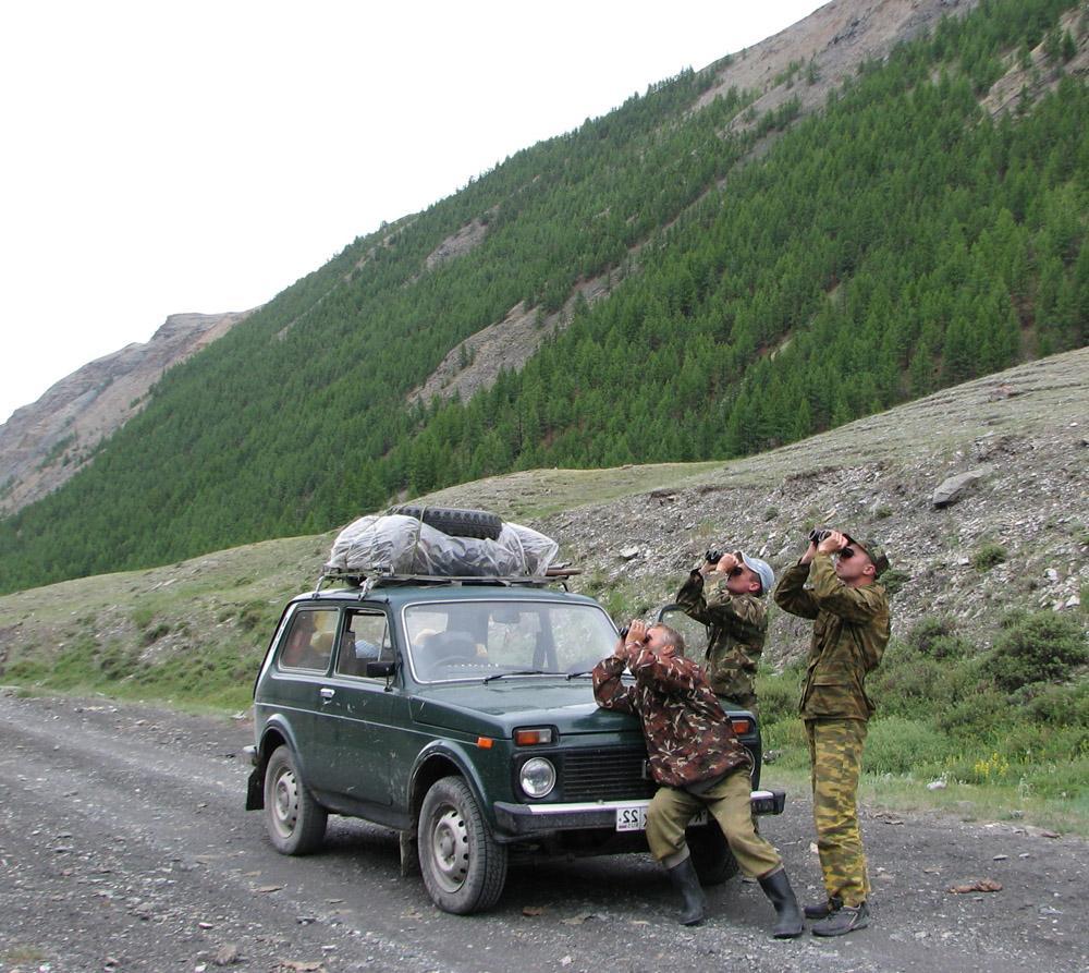 Учёт балобана в горах. На фото Роман Бахтин, Александр Макаров и Олег Митрофанов. Фото С. Важова.
