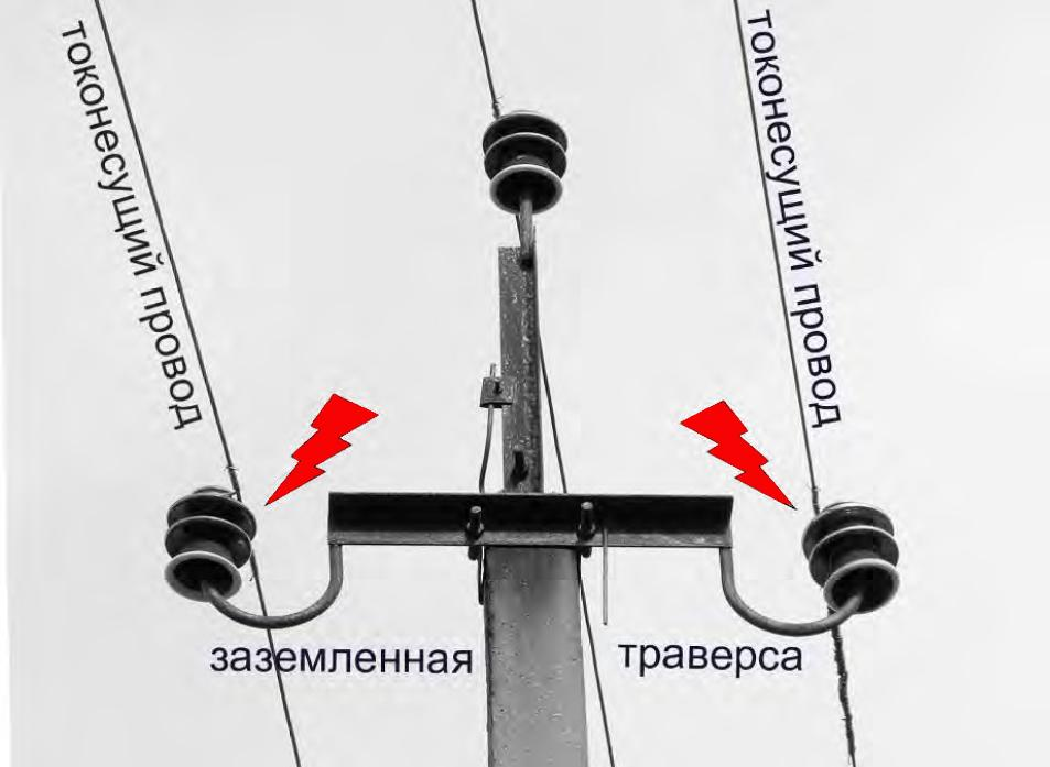 Оголовок опоры птицеопасной ЛЭП (бетонная опора ВЛ 6-10 кВ со штыревыми изоляторами)