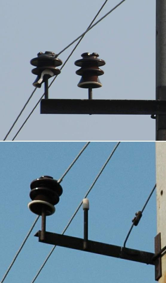 Пример разрушения холостого изолятора и увеличения птицеопасности оголовка опоры