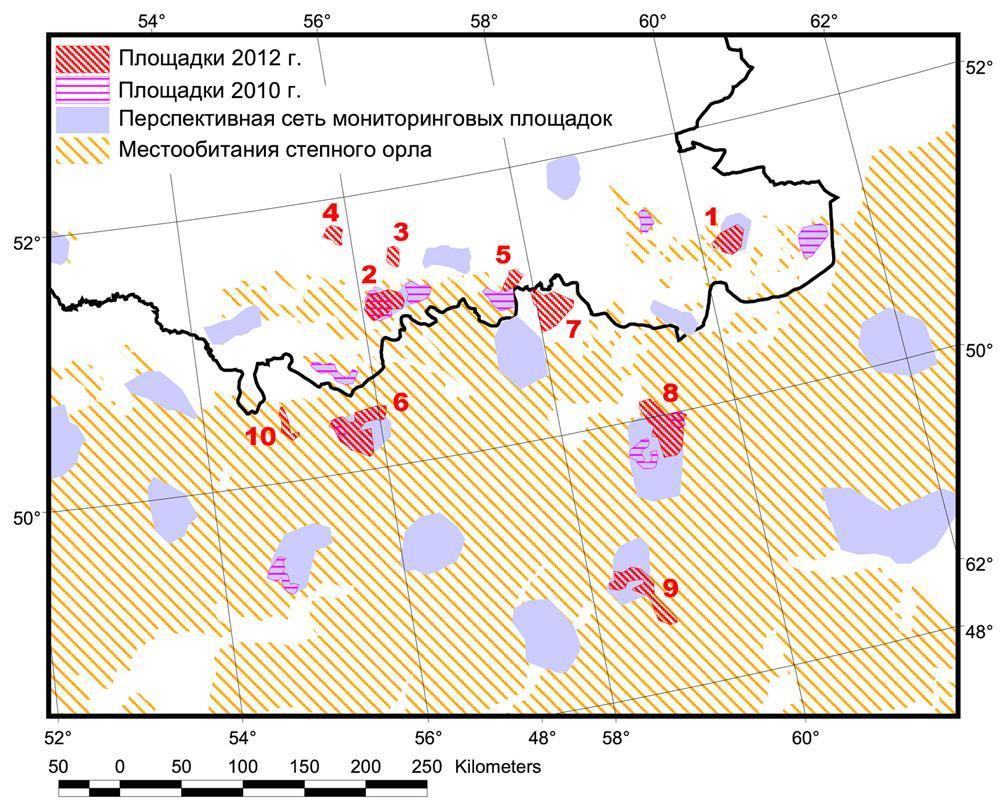 Местообитания степного орла и учетные площадки , обследованные в 2010 г. и в 2012 г.